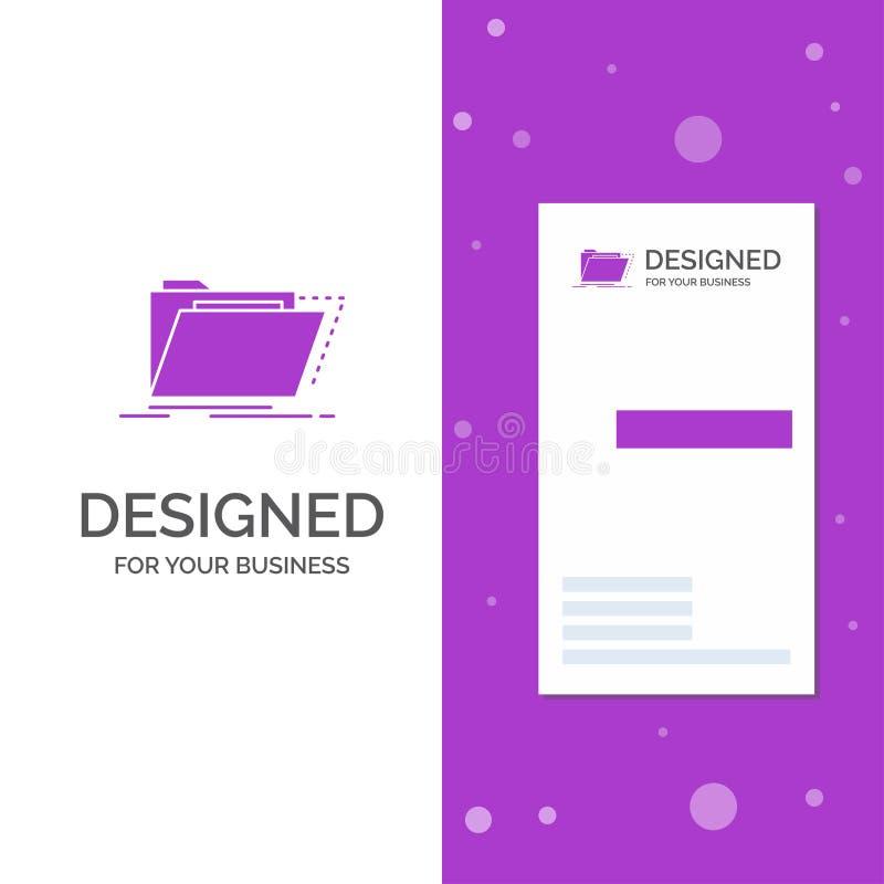 Geschäfts-Logo für Archiv, Katalog, Verzeichnis, Dateien, Ordner Vertikale purpurrote Gesch?fts-/Visitenkarteschablone kreativ lizenzfreie abbildung