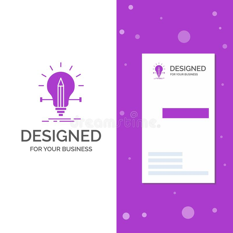 Geschäfts-Logo für Birne, kreativ, Lösung, Licht, Bleistift Vertikale purpurrote Gesch?fts-/Visitenkarteschablone Kreativer Hinte lizenzfreie abbildung