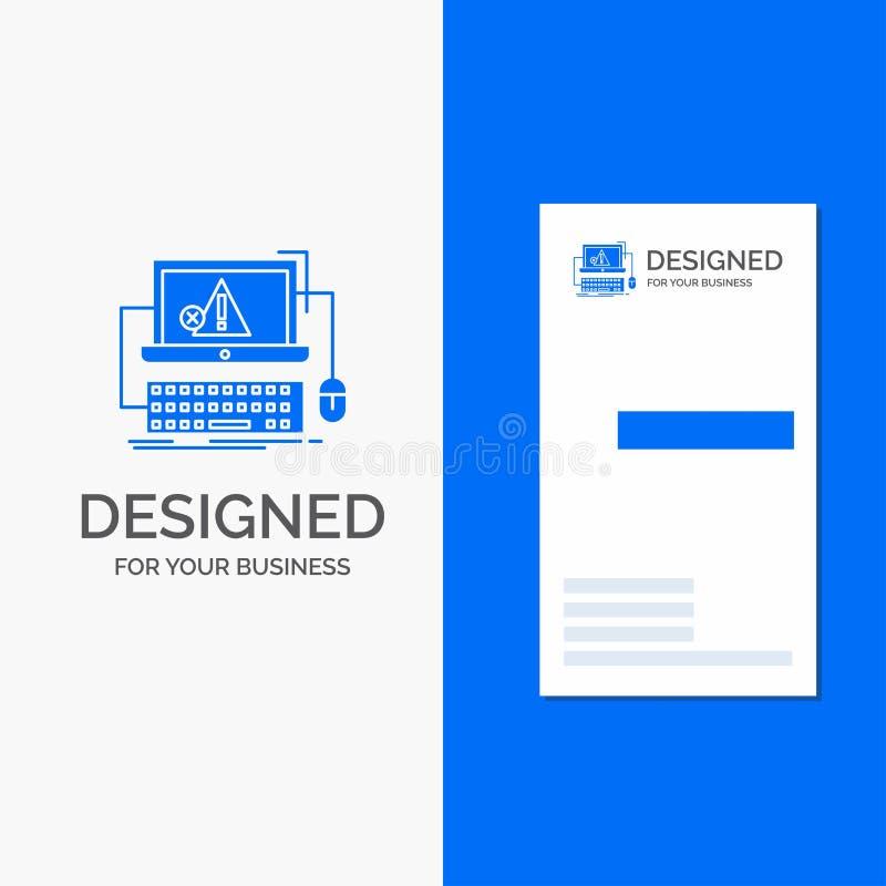 Geschäfts-Logo für Computer, Absturz, Fehler, Ausfall, System Vertikale blaue Gesch?fts-/Visitenkarteschablone vektor abbildung
