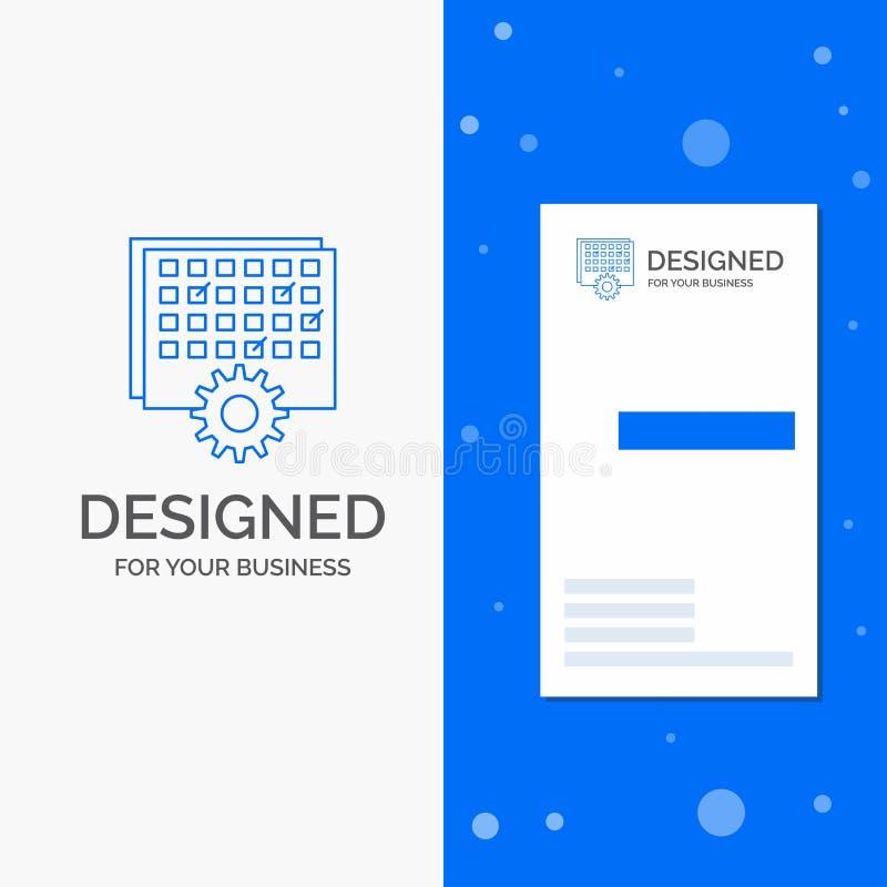 Geschäfts-Logo für Ereignis, Management, verarbeitend, Zeitplan, TIMING Vertikale blaue Gesch?fts-/Visitenkarteschablone stock abbildung