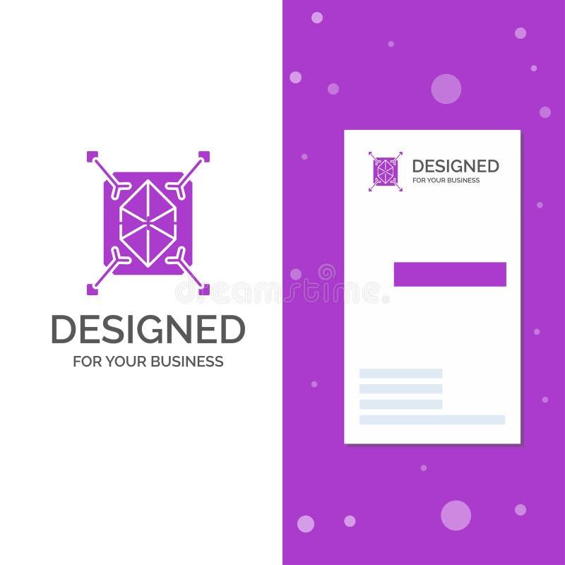 Geschäfts-Logo für Gegenstand, Erstausführung, schnell, Struktur, 3d Vertikale purpurrote Gesch?fts-/Visitenkarteschablone kreati lizenzfreie abbildung