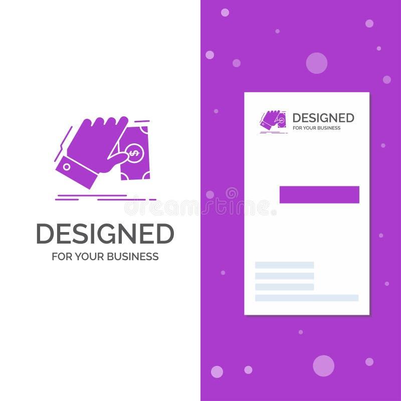 Geschäfts-Logo für Geschäft, Hand, Geld, erwerben, Dollar Vertikale purpurrote Gesch?fts-/Visitenkarteschablone Kreativer Hinterg vektor abbildung