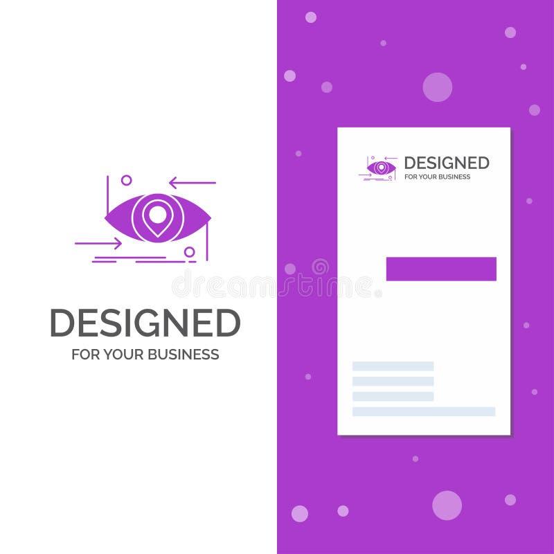Geschäfts-Logo für modernes, zukünftig, GEN, Wissenschaft, Technologie, Auge Vertikale purpurrote Gesch?fts-/Visitenkarteschablon vektor abbildung