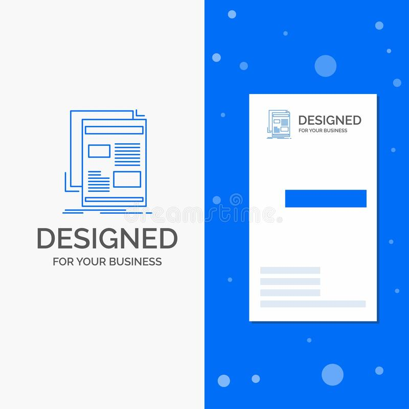 Geschäfts-Logo für Nachrichten, Newsletter, Zeitung, Medien, Papier Vertikale blaue Gesch?fts-/Visitenkarteschablone stock abbildung