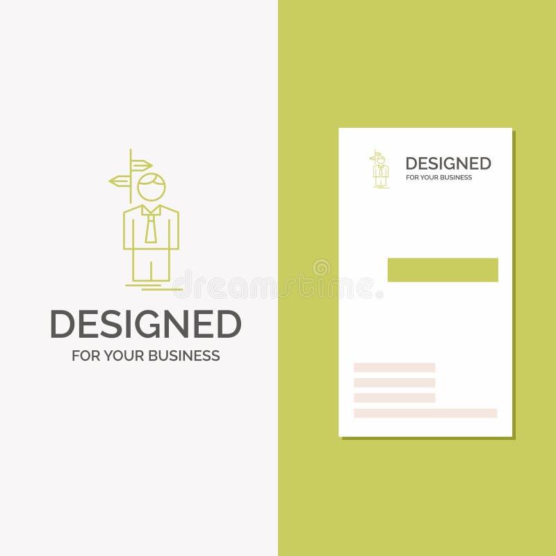 Geschäfts-Logo für Pfeil, Wahl, wählen, Entscheidung, Richtung Vertikale gr?ne Gesch?fts-/Visitenkarteschablone kreativ lizenzfreie abbildung