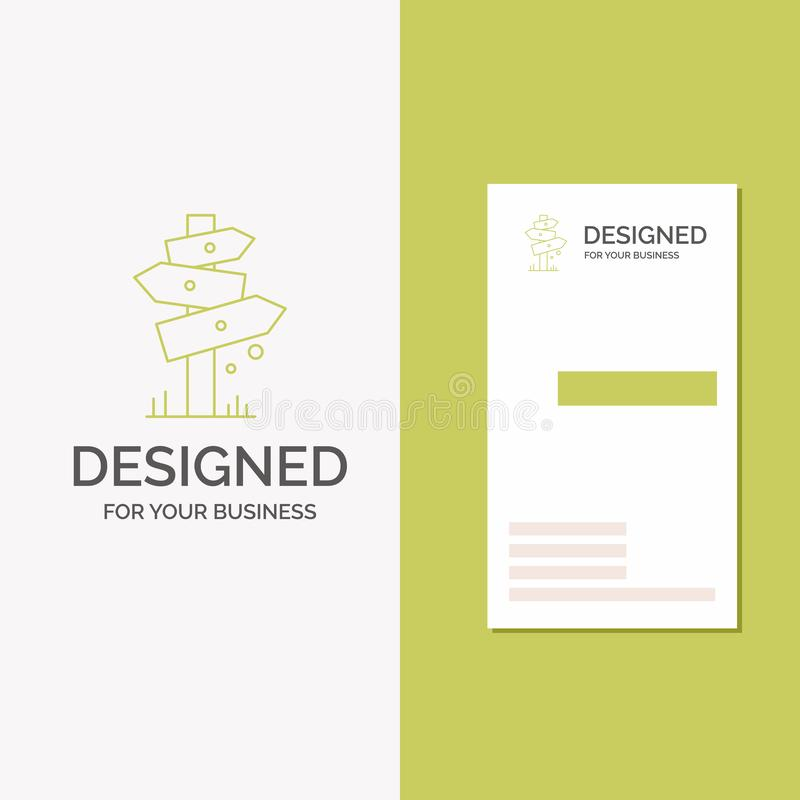 Geschäfts-Logo für Richtung, Brett, kampierend, Zeichen, Aufkleber Vertikale gr?ne Gesch?fts-/Visitenkarteschablone Kreativer Hin lizenzfreie abbildung