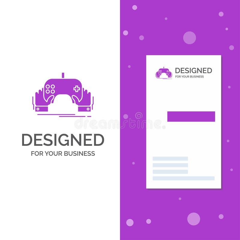 Geschäfts-Logo für Spiel, Spiel, Mobile, Unterhaltung, App Vertikale purpurrote Gesch?fts-/Visitenkarteschablone Kreativer Hinter vektor abbildung