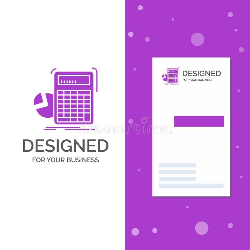 Geschäfts-Logo für Taschenrechner, Berechnung, Mathe, Fortschritt, Diagramm Vertikale purpurrote Gesch?fts-/Visitenkarteschablone lizenzfreie abbildung