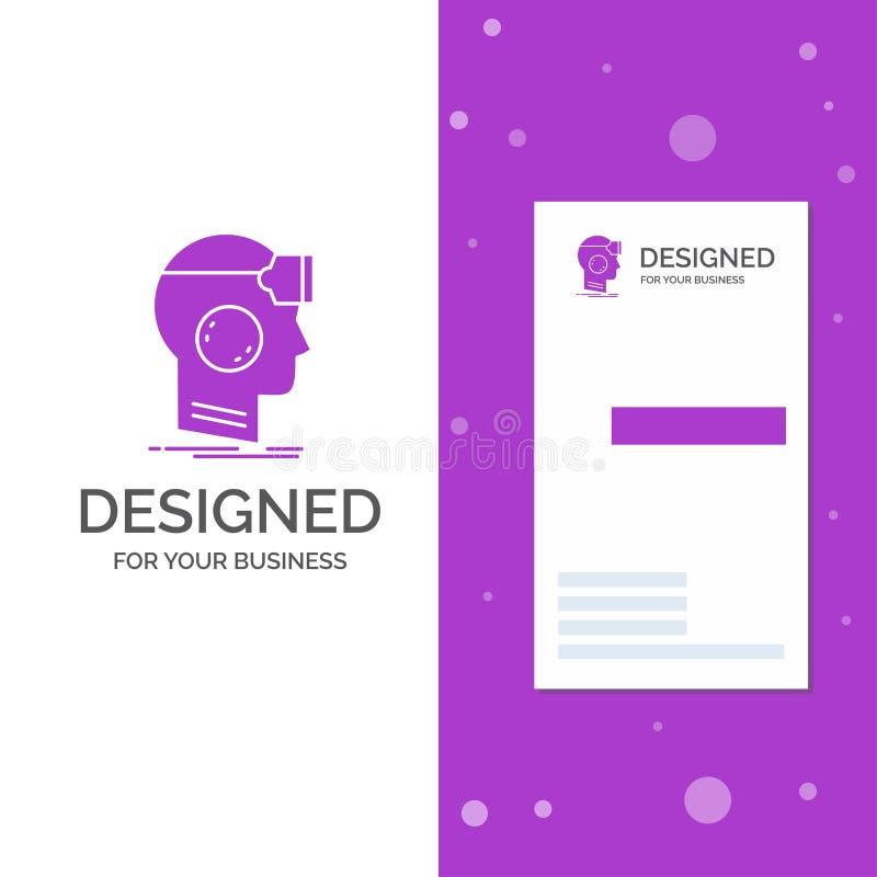 Geschäfts-Logo für VR, googelt, Kopfhörer, die Wirklichkeit, virtuell Vertikale purpurrote Gesch?fts-/Visitenkarteschablone Kreat vektor abbildung