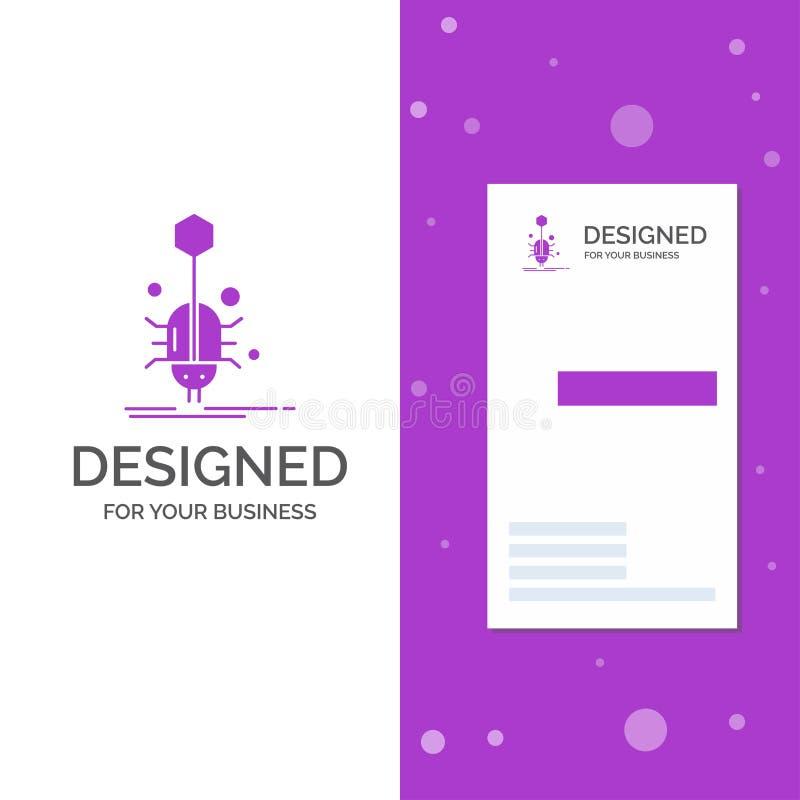 Geschäfts-Logo für Wanze, Insekt, Spinne, Virus, Netz Vertikale purpurrote Gesch?fts-/Visitenkarteschablone Kreativer Hintergrund lizenzfreie abbildung