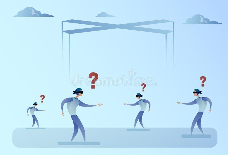 Geschäfts-Man Group-Vorhänge durchschrittenes Gehen mit Frage Mark Problem Concept lizenzfreie abbildung