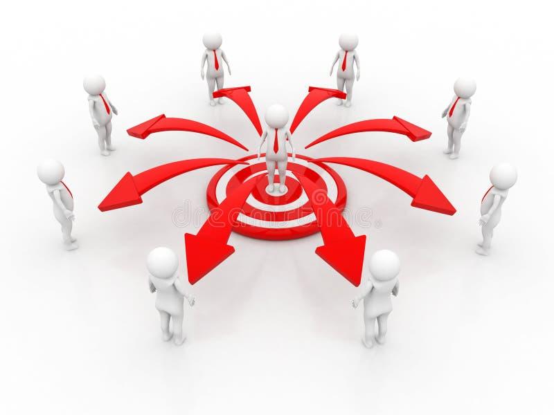 Geschäfts-Netzkonzept der Wiedergabe 3d, Führer, Führung des Geschäfts vektor abbildung