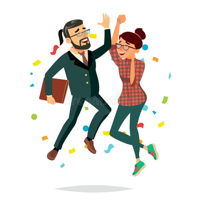 Geschäfts-Paar-springender Vektor Mann und Frau Objektive Erreichung, Leistung Beste Arbeitskraft, Durchreißer Lokalisierte Ebene stock abbildung