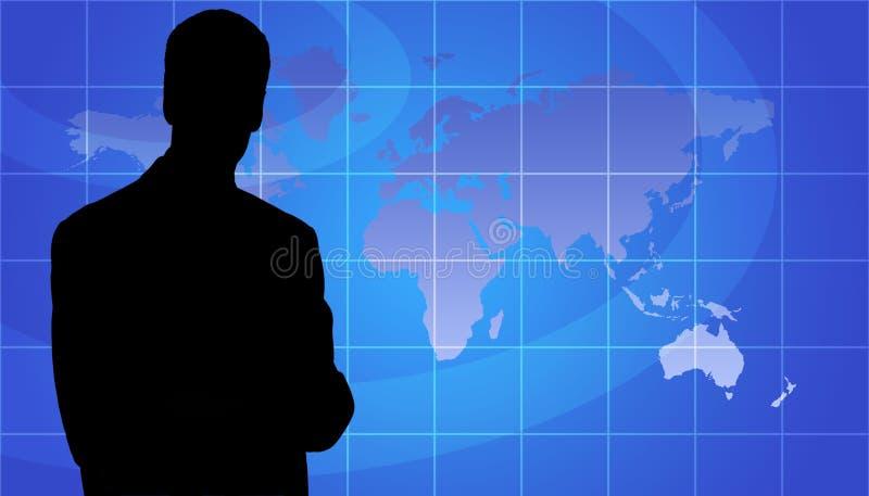 Geschäfts-Personen-Schattenbild, Weltkarten-Hintergrund vektor abbildung