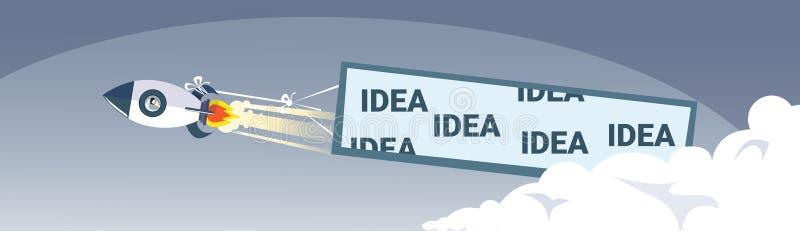 Geschäfts-Projekt-Konzept Fliegen-Raum-Schiffs-Rocket With Idea Banner News Stratup erfolgreiches stock abbildung