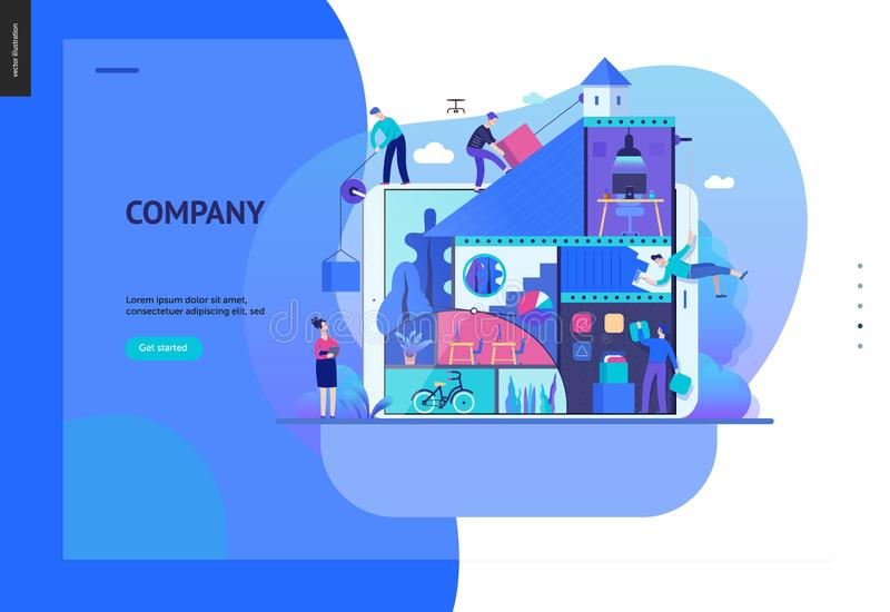 Geschäfts-Reihe - Firmen-, Teamwork- und Zusammenarbeitsnetzschablone lizenzfreie abbildung