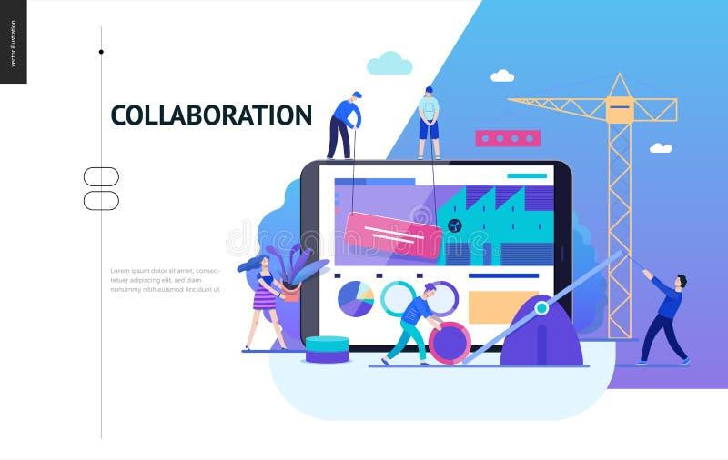 Geschäfts-Reihe - Teamwork- und Zusammenarbeitsnetzschablone vektor abbildung