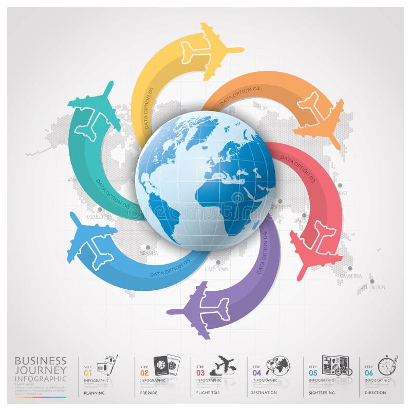 Geschäfts-Reise mit globalem Fluglinie Infographic-Diagramm lizenzfreie abbildung
