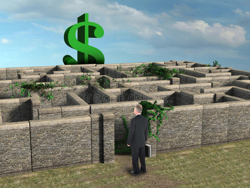 Geschäfts-Risiko-Belohnung Maze Sales stock abbildung