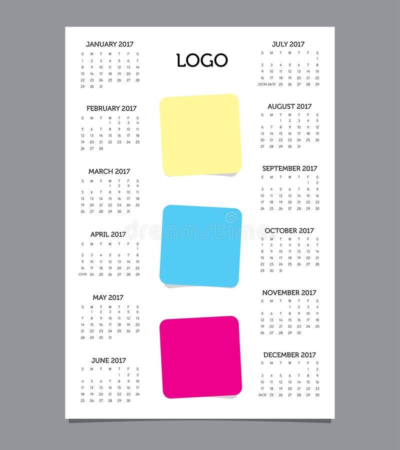Geschäfts-Schablonen-Kalender 2017 lizenzfreie stockfotos