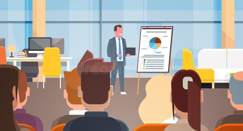 Geschäfts-Seminar-Geschäftsmann-Leading Presentation Or-Bericht, bildend in Front Of Businesspeople Group aus stock abbildung