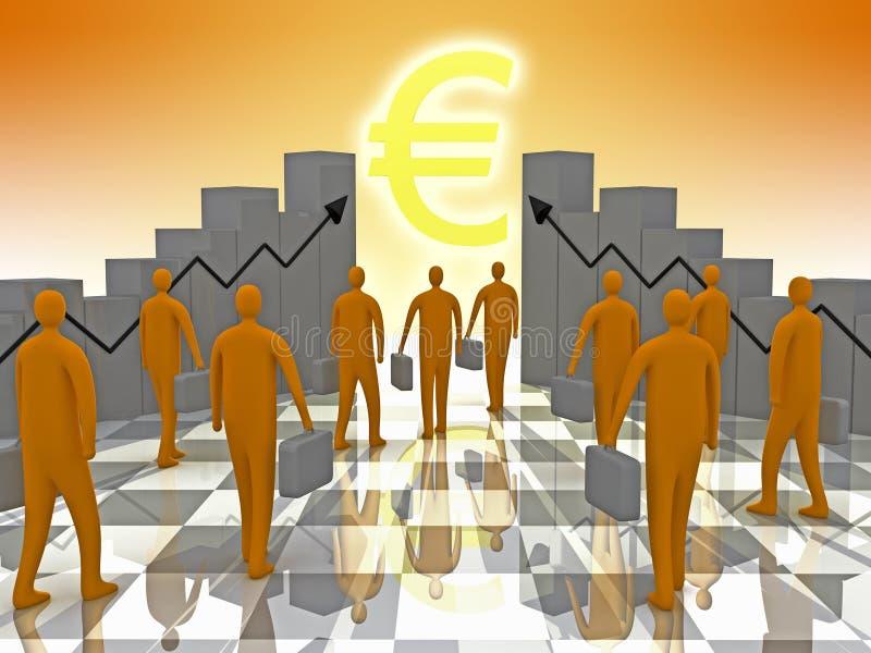 Geschäfts-Sonnenschein-Euro lizenzfreie abbildung