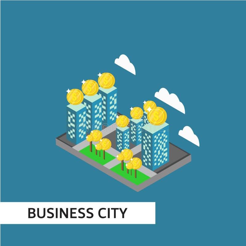 Geschäfts-Stadt-isometrische Vektor-Schablonen-Entwurfs-Illustration lizenzfreie abbildung