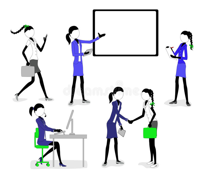 Geschäfts-Stock-Zahl Mädchen, die im Büro arbeiten stock abbildung