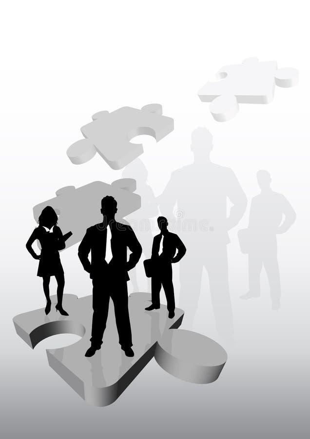 Geschäfts-Team auf Puzzlespiel lizenzfreie abbildung