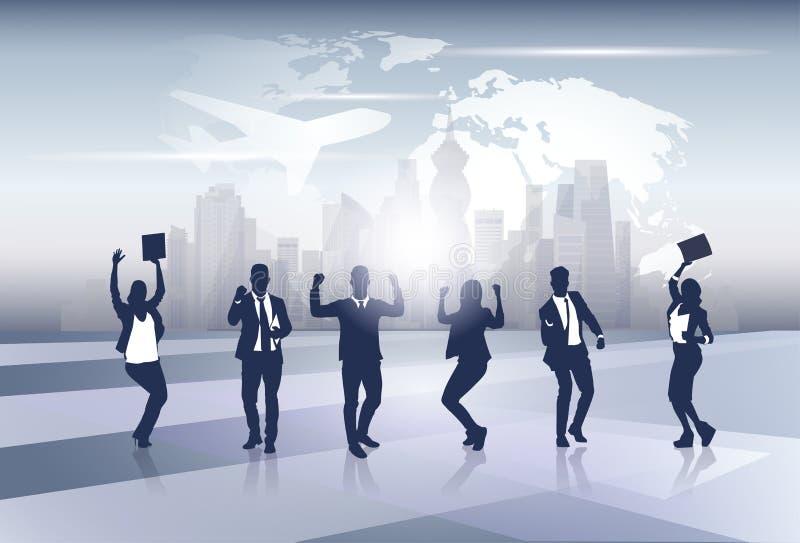 Geschäfts-Team Silhouette Businesspeople Group Cheerful-glückliches angehoben überreicht Weltkarte-Reise-Flug-Konzept vektor abbildung