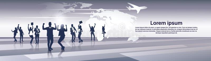 Geschäfts-Team Silhouette Businesspeople Group Cheerful-glückliches angehoben überreicht Weltkarte-Reise-Flug-Konzept stock abbildung