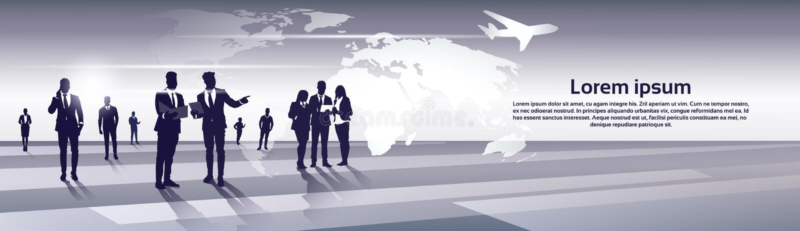 Geschäfts-Team Silhouette Businesspeople Group Human-Betriebsmittel über Weltkarte-Reise-Flug-Konzept lizenzfreie abbildung