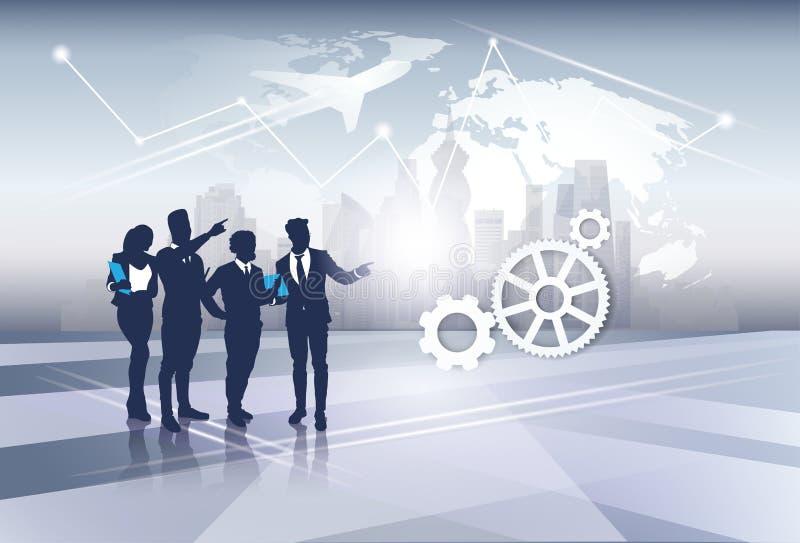Geschäfts-Team Silhouette Businesspeople Group Human-Betriebsmittel über Weltkarte-Reise-Flug-Konzept stock abbildung
