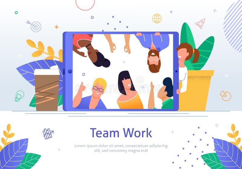 Geschäfts-Teamwork-flaches Vektor-Fahnen-on-line-Plakat stock abbildung