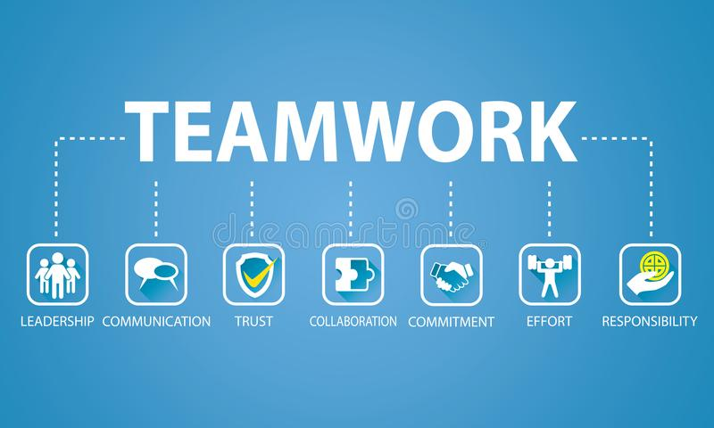 Geschäfts-Teamwork Team Hard Work Concept Auch im corel abgehobenen Betrag stock abbildung