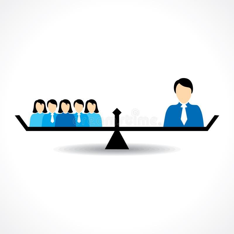 Geschäfts-Teamwork- und Führungsvergleichskonzept lizenzfreie abbildung