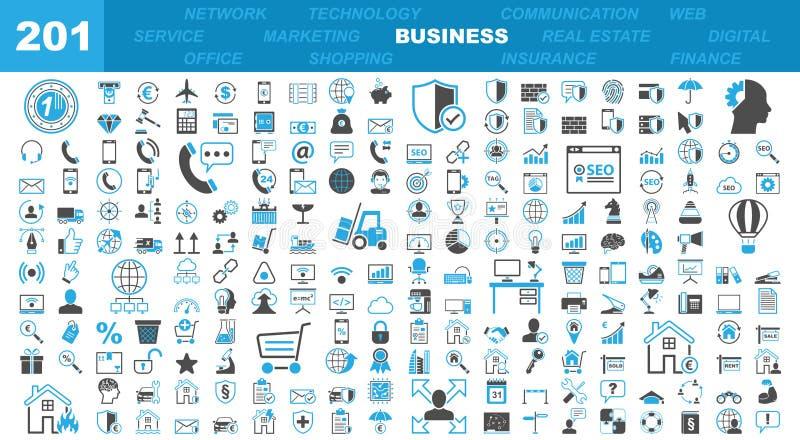 Geschäfts-u. Büro-Ikonen - 201 Iconset lizenzfreie abbildung