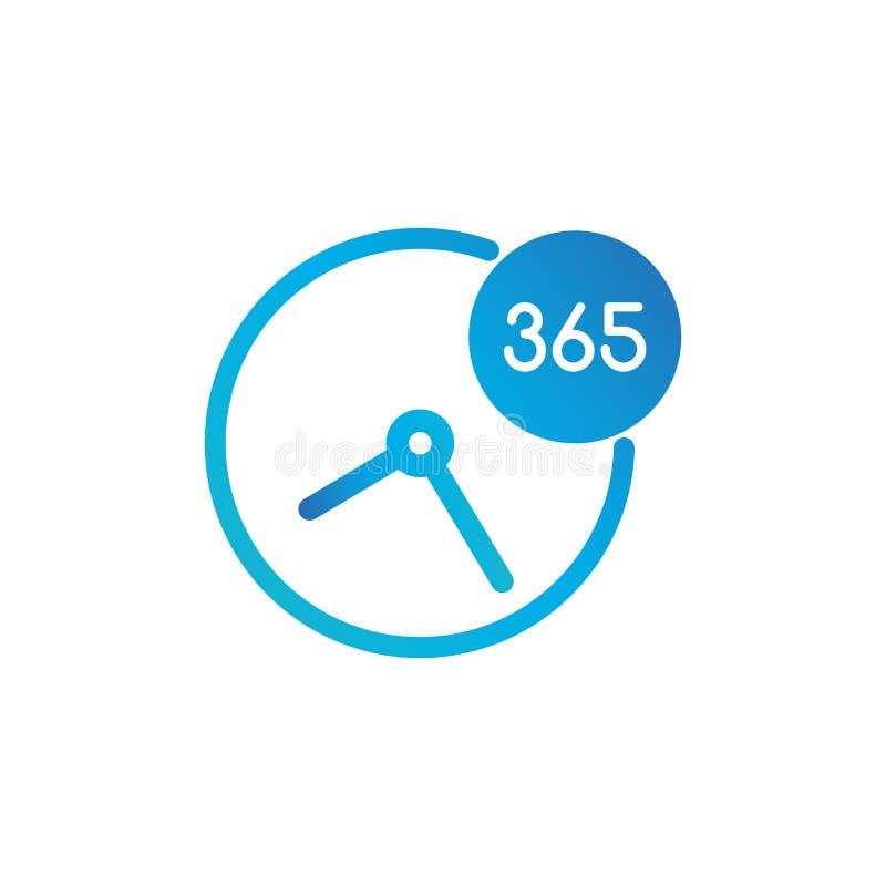 Geschäfts-Uhr-Ikone 365 Tage - Standardetikett für Kundendienst, Unterstützung, Call-Center Vektorillustration lokalisiert auf We stock abbildung