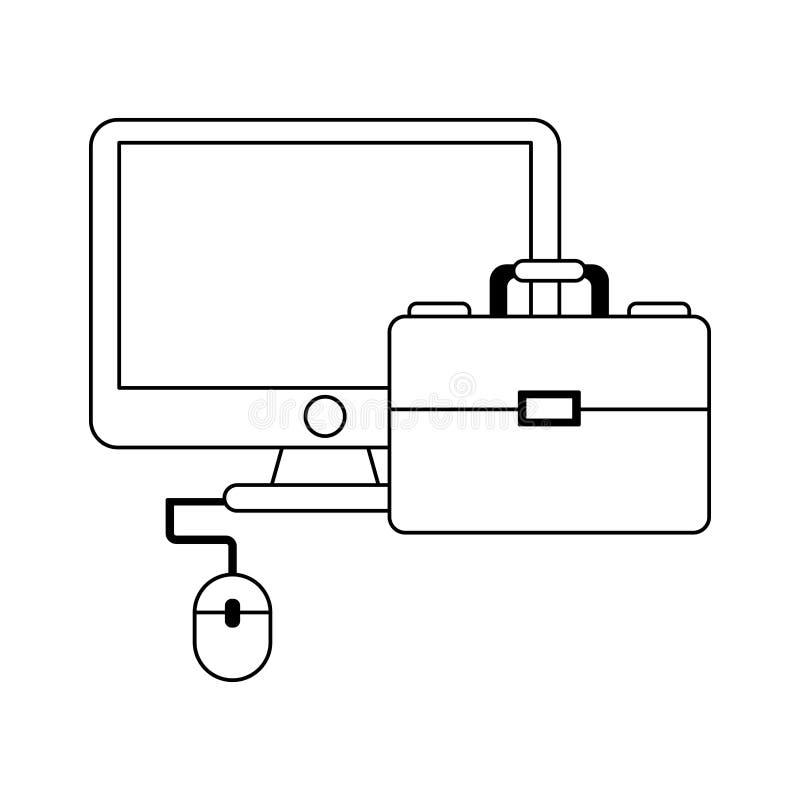 Geschäfts- und Büroelemente Schwarzweiss vektor abbildung