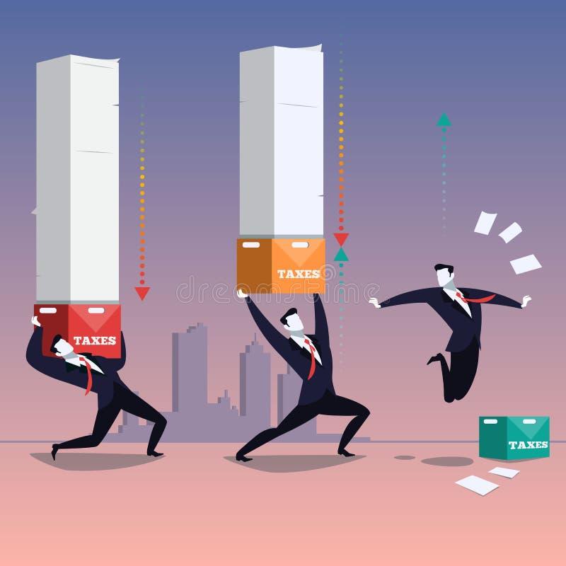 Geschäfts- und Besteuerungskonzept vector Illustration im flachen Design lizenzfreie abbildung