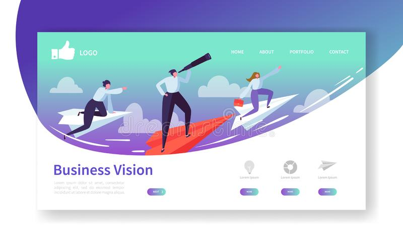 Geschäfts-Visions-Landungs-Seiten-Schablone Website-Plan mit den flachen Leute-Charakteren, die auf Papier-Flugzeug fliegen Einfa vektor abbildung