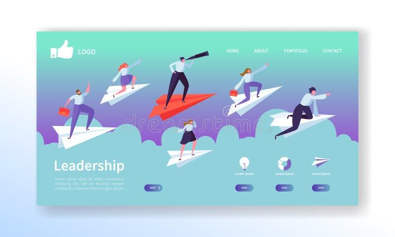 Geschäfts-Visions-Landungs-Seiten-Schablone Website-Plan mit den flachen Leute-Charakteren, die auf Papier-Flugzeug fliegen Einfa stock abbildung