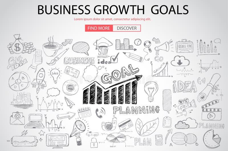 Geschäfts-Wachstums-Ziele concet mit Gekritzeldesignart lizenzfreie abbildung