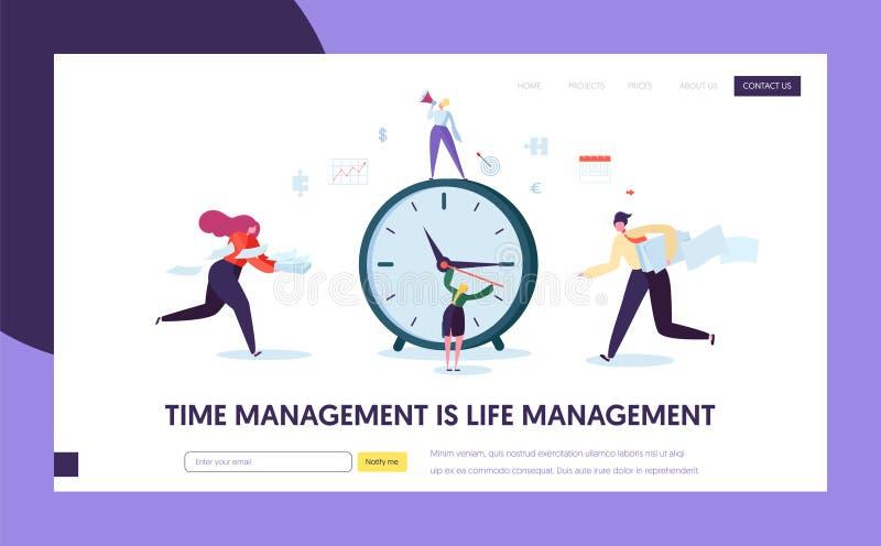 Geschäfts-Zeit-Management-Konzept-Landungs-Seite Charakter-Organisations-Zeitplan-Optimierungs-Schablone für Website vektor abbildung