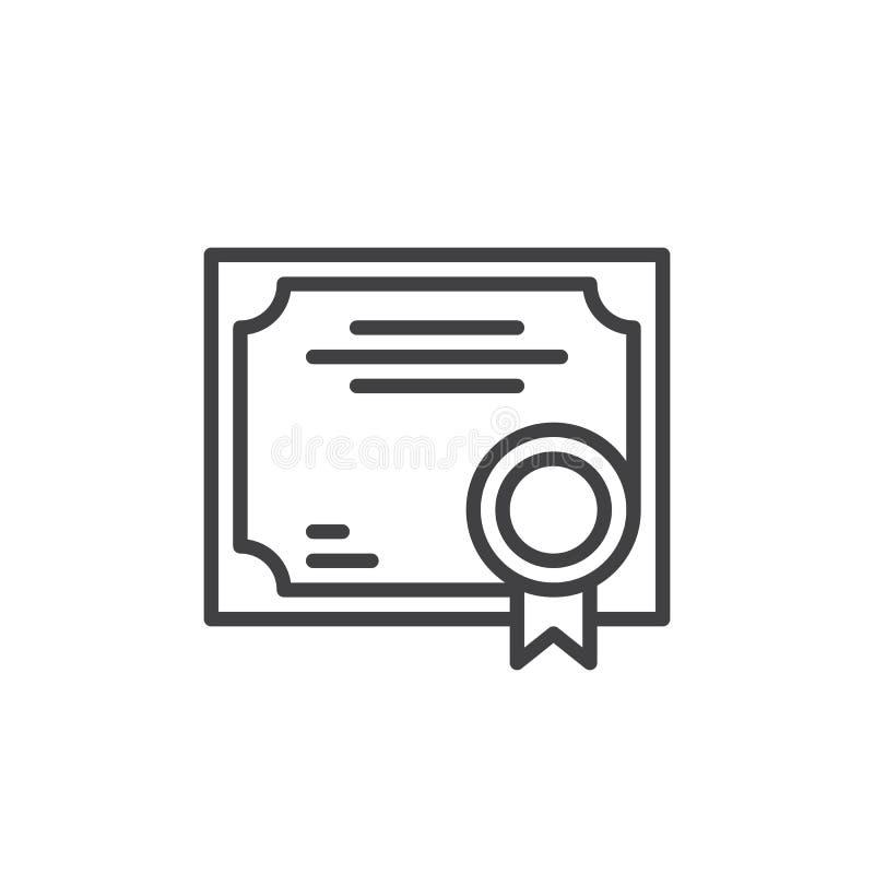Geschäfts-Zertifikatlinie Ikone, Entwurfsvektorzeichen, lineares Artpiktogramm lokalisiert auf Weiß stock abbildung