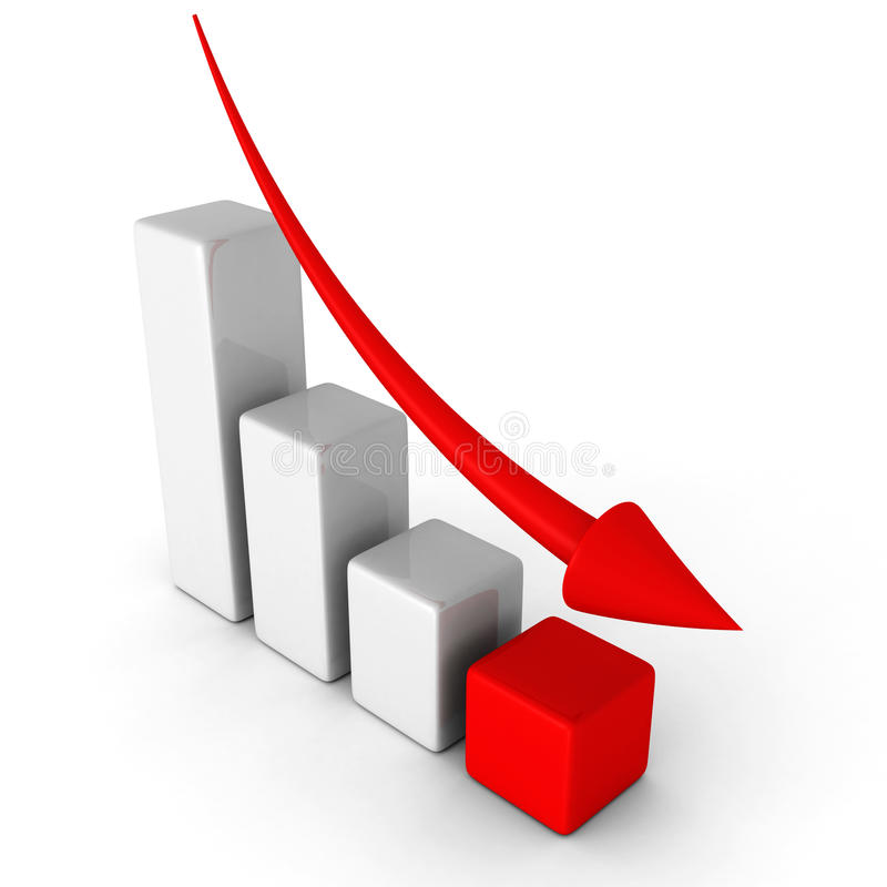 Geschäftsabnahme-Diagrammdiagramm mit fallendem Pfeil lizenzfreies stockfoto