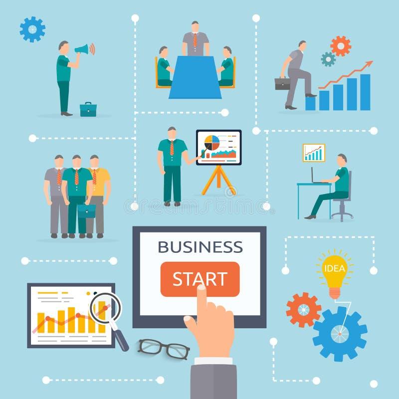 Geschäftsanfangs-infographics Schablone stock abbildung