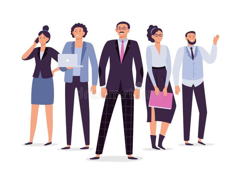 Geschäftsangestelltteam Teamwork-Führung, Erfolgsexekutivangestellter und Büroleutegruppenvektorillustration lizenzfreie abbildung