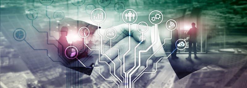 Geschäftsanwendungsikonen auf unscharfem Hintergrund Finanziell und Handel Internet-Technologiekonzept lizenzfreies stockfoto