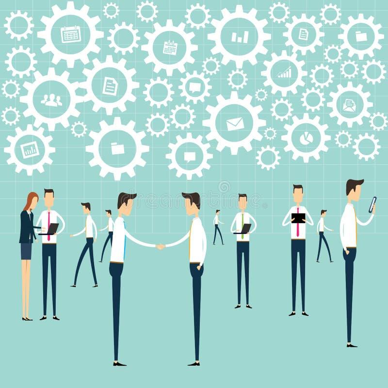 Geschäftsarbeitskommunikations-Verbindungsprozeß lizenzfreie abbildung